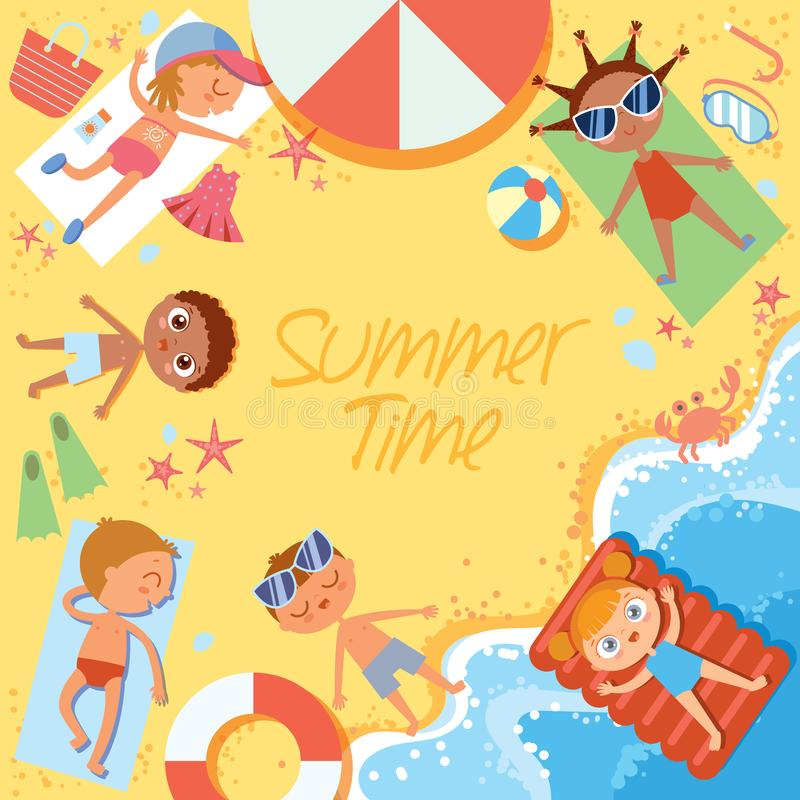 Summer time. Group of children sunbathing on the beach. Top view. Flat style. Template for advertising brochure. Funny cartoon character. Vector illustration vector illustration