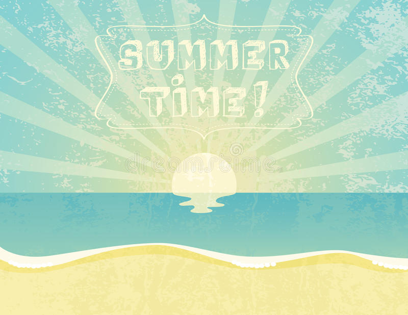 Summer Time. Summer grunge textured background with Summer Time banner stock illustration