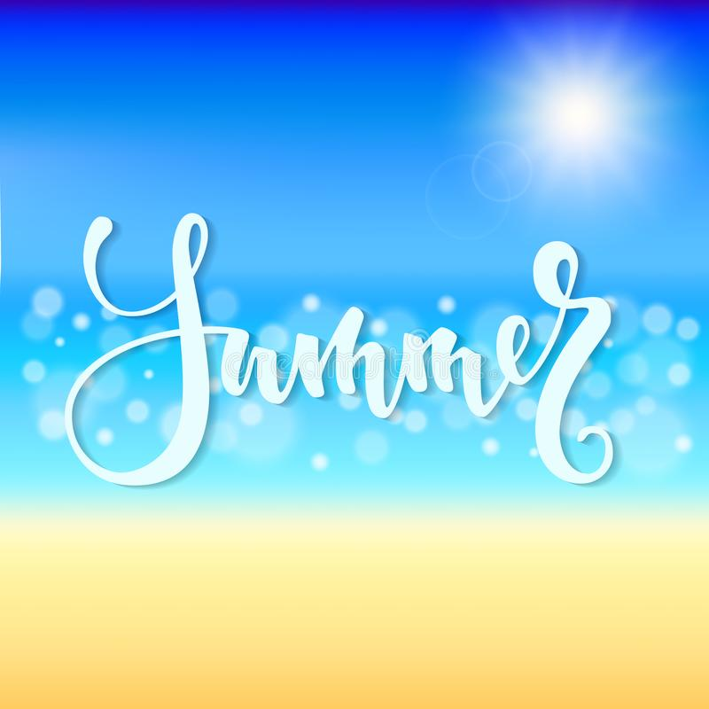 Summer time. Hand drawn brush pen lettering, Beautiful Summer beach with shiny sparkling sea water. design for greeting card and i. Nvitation of seasonal summer vector illustration