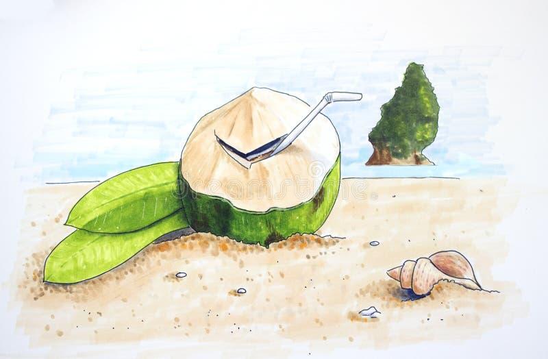 Summer time hand drawn illustration royalty free illustration