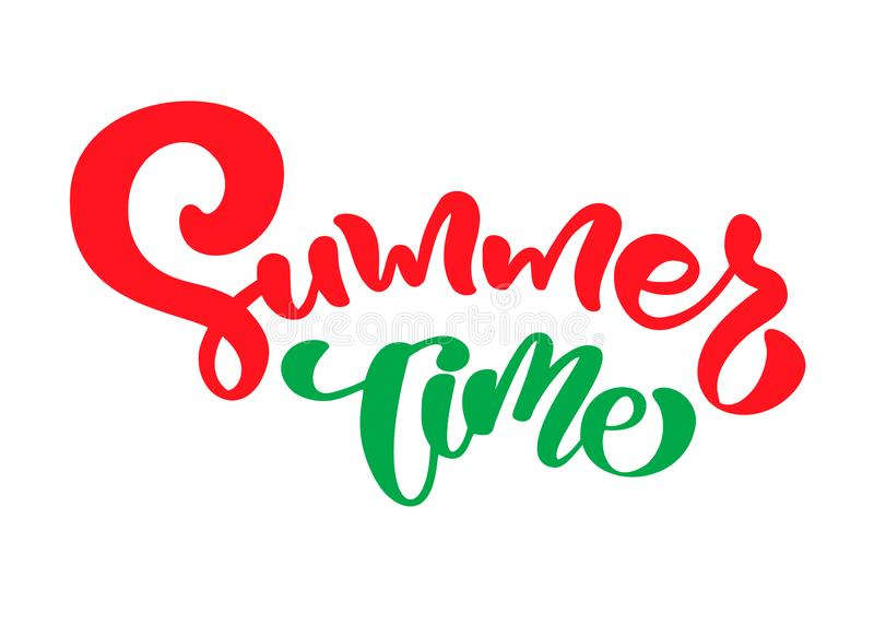 Summer time hand drawn lettering calligraphy vector text. Fun quote illustration design logo or label. Inspirational typography vector illustration