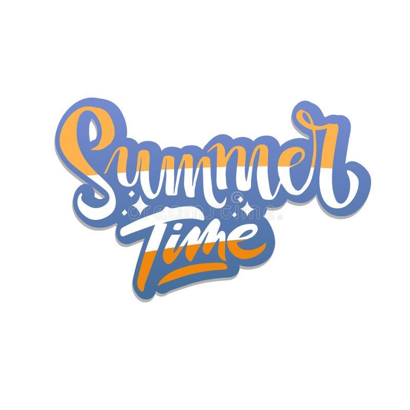 Summer time hand drawn striped inspirational lettering quote for hot sticker, postcard, T-shirt design print, banner, logo, vector illustration