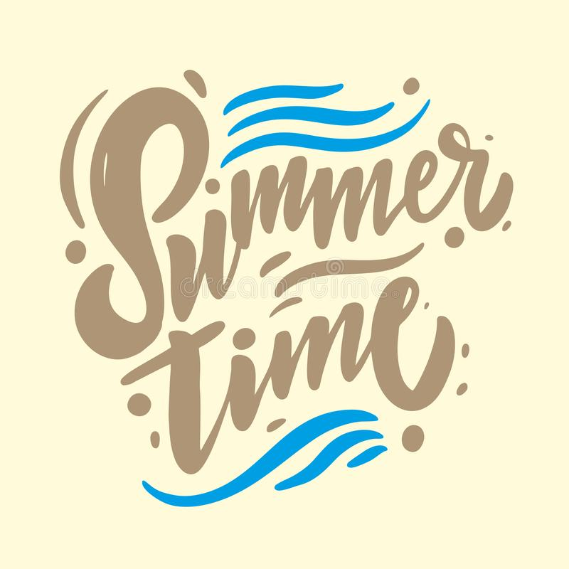 Summer Time hand drawn vector lettering. Modern brush calligraphy. Isolated. On background vector illustration