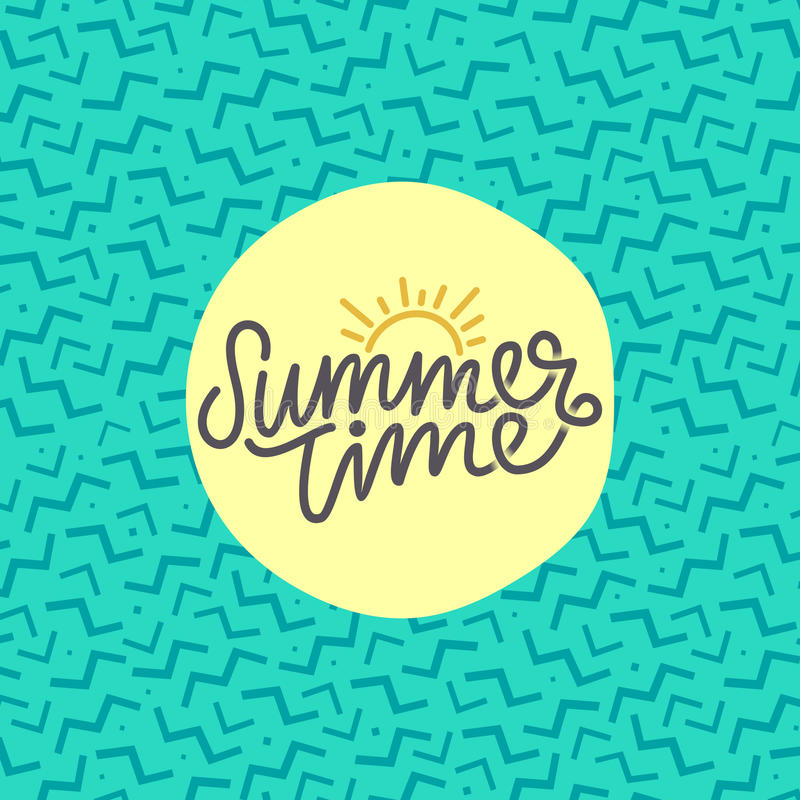 Summer time hand lettering text. Calligraphy poster with a trendy 90s memphis pattern. Hand writting vector illustration