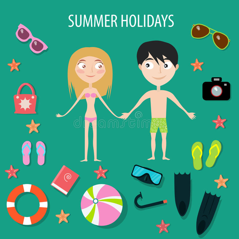 Summer Time.Holidays. Happy couple. Set of icons. Vector illustration royalty free illustration