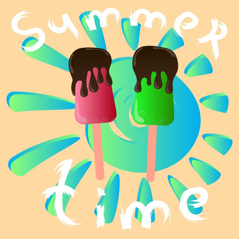 Summer time and ice cream vector poster royalty free illustration