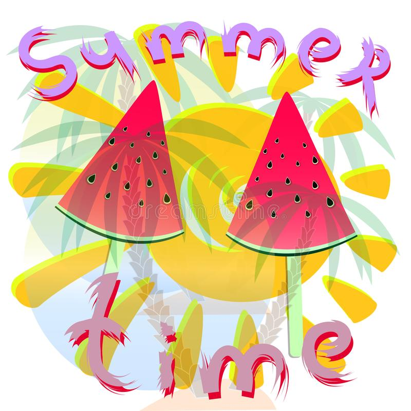 Summer time illustration with watermelon vector illustration