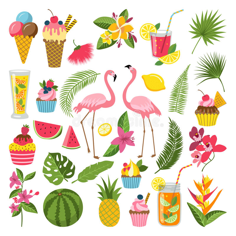Summer time labels set for tropical party. Different icons in flat style. Drinks, watermelon, lemonade and flamingo vector illustration
