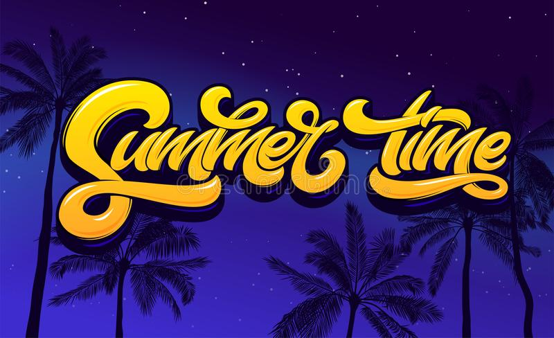 Summer Time lettering with palm tree and night sky. Vector lettering for sticker, banner, poster, broshure, flyer, card. Hand drawn lettering. Modern brush stock illustration