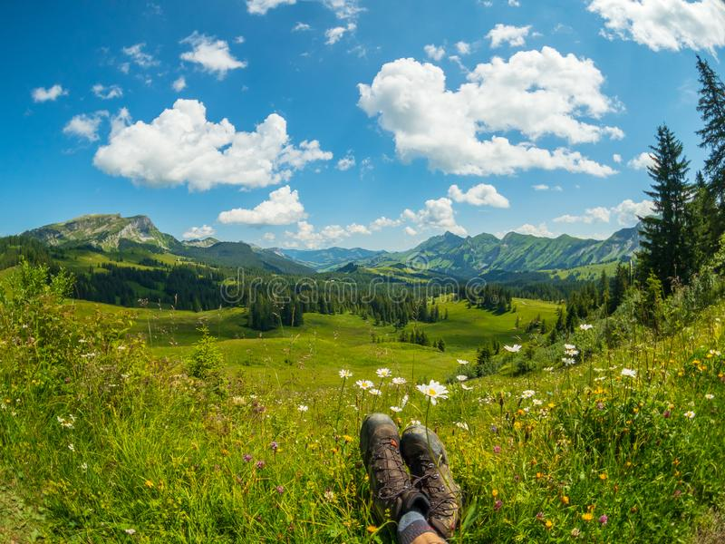 Summer time mountain nature panoramic landscape near Habkern, Switzerland stock images