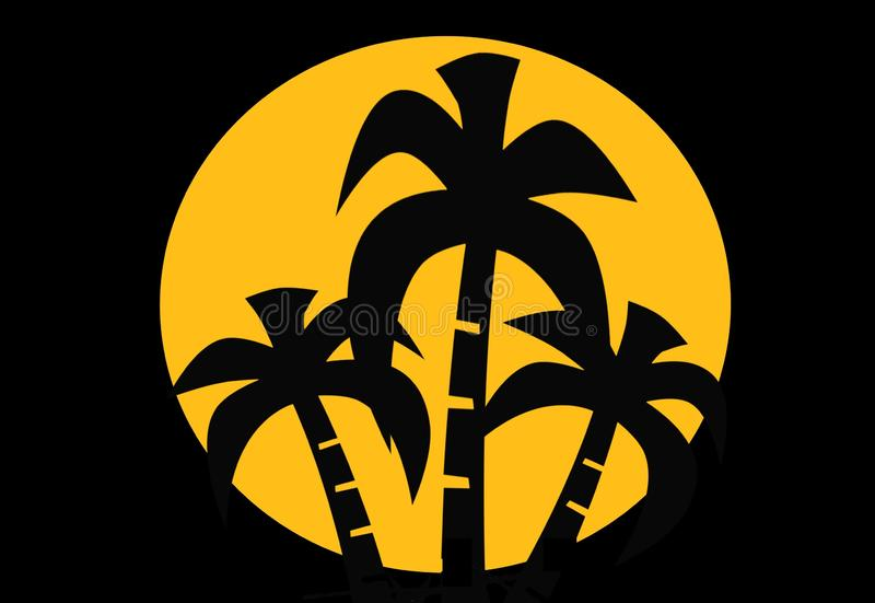 Summer time palm trees .Banner poster on black background . illustration design royalty free stock images