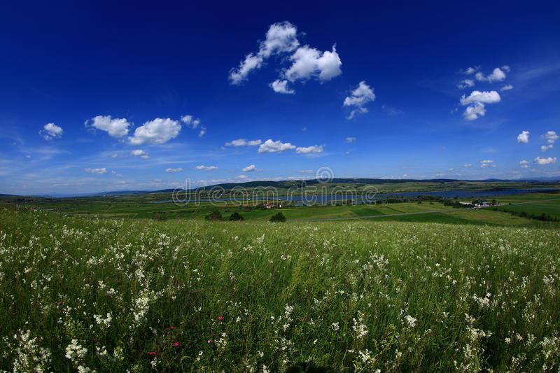 Summer time. Summer panoramic landscape and beautiful cumulus clouds royalty free stock image