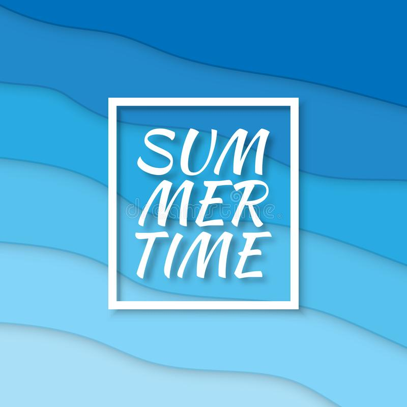 Summer time. Paper cut style blue sea summer background with frame. Vector illustration vector illustration