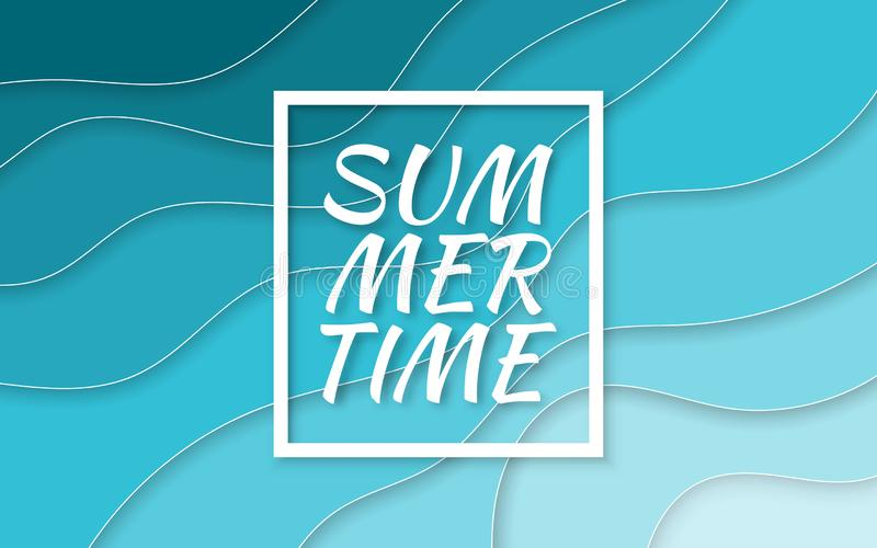 Summer time. Paper cut style blue sea summer background with frame. Vector illustration stock illustration