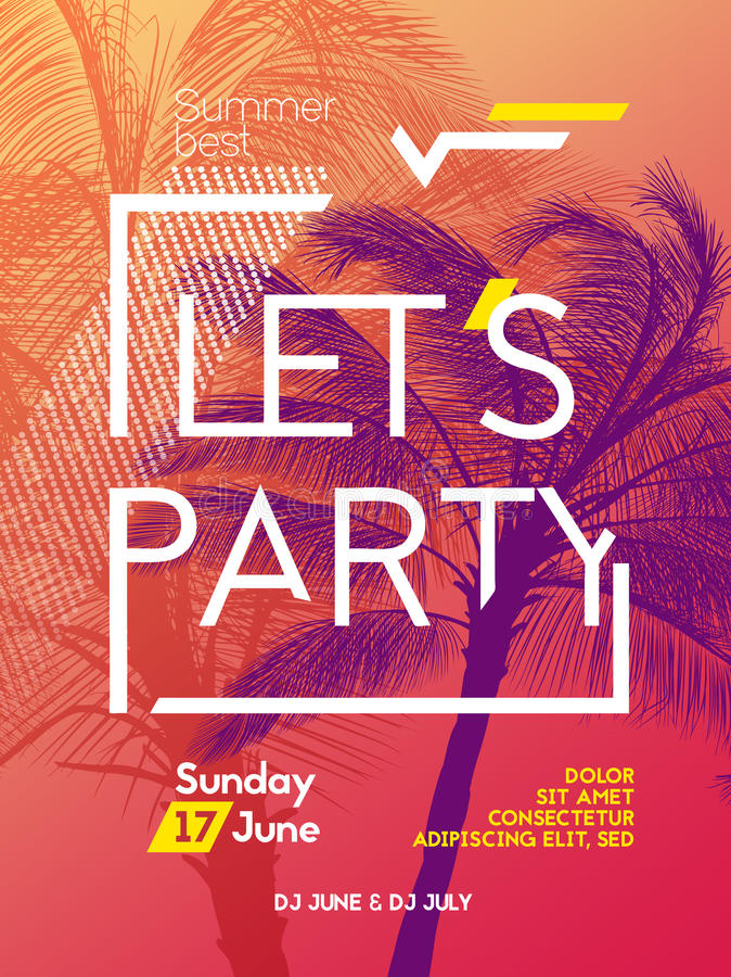 Summer time party poster design template stock illustration