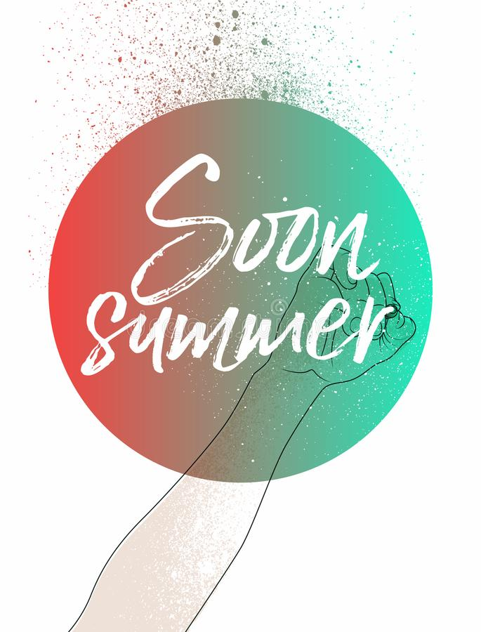 Summer time phrase typographical poster. Vector illustration. stock illustration