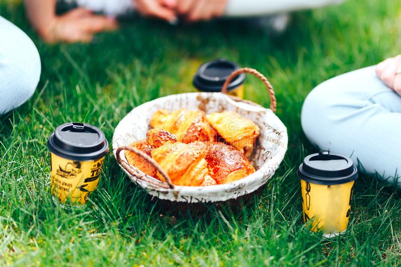 Summer time: picnic on the grass - coffee in hands and croissants, juice and berries. Selective focus. friends.  royalty free stock photos