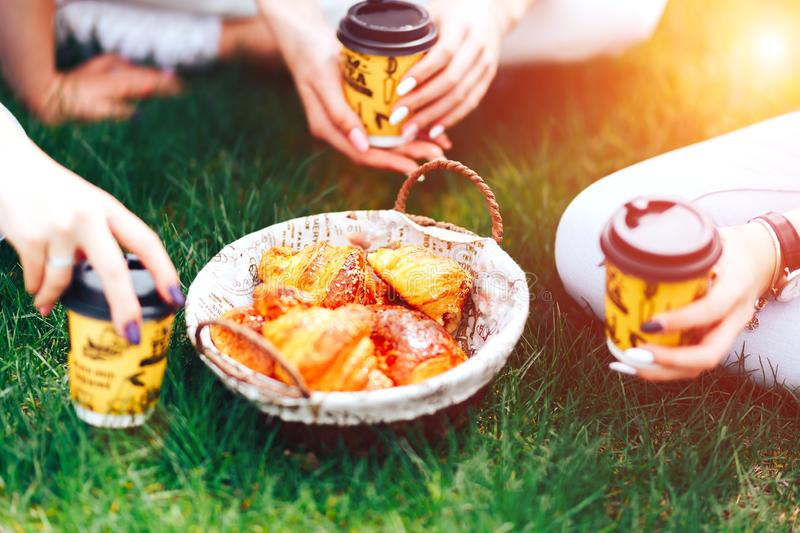 Summer time: picnic on the grass - coffee in hands and croissants, juice and berries. Selective focus. friends.  royalty free stock images