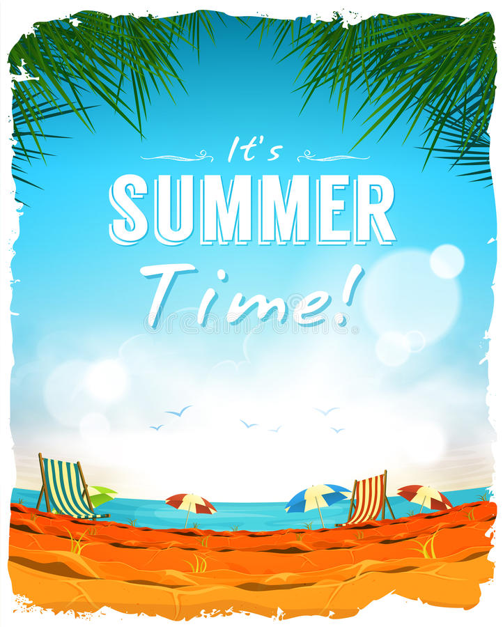 Summer Time Poster Background stock illustration