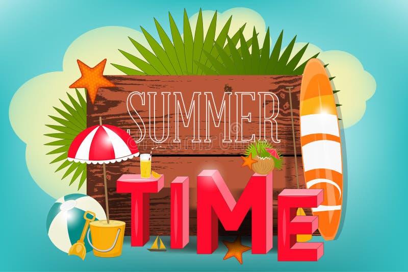 Summer Time Poster royalty free illustration