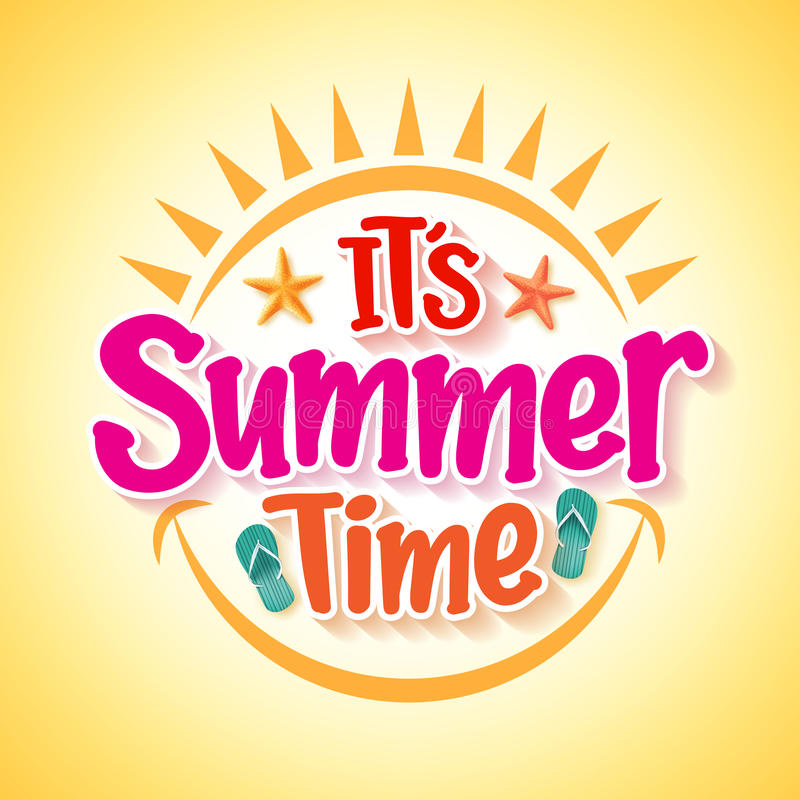 Summer Time Poster Design with Happy and Fun Concept stock illustration