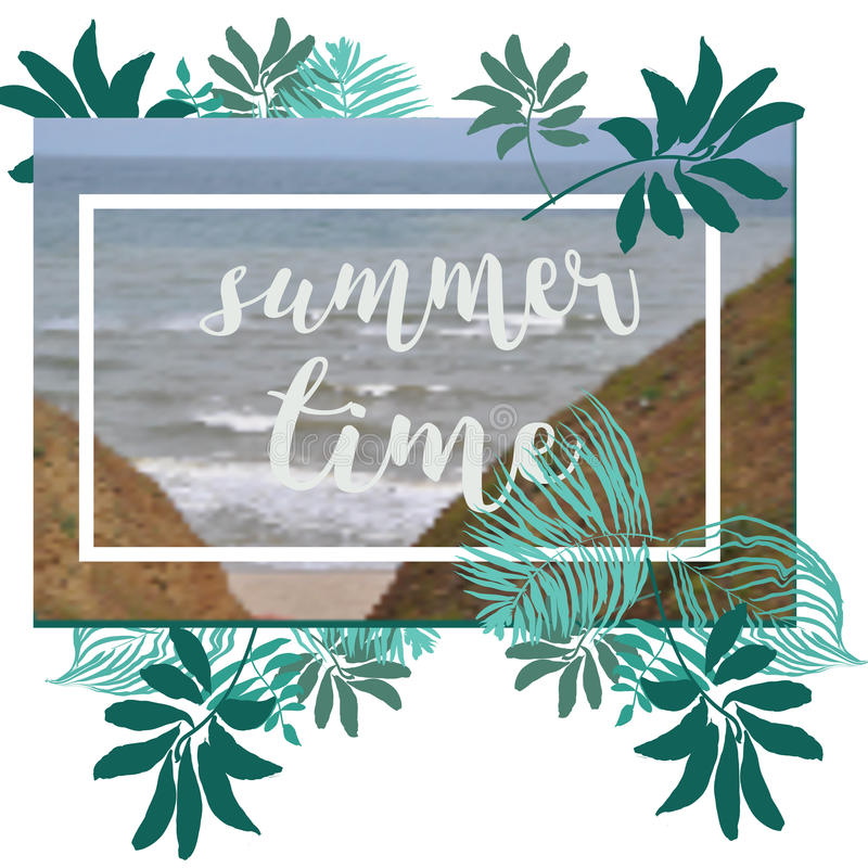 Summer Time poster. Text with frame on tropical leaves background. Trendy vector illustration. stock illustration