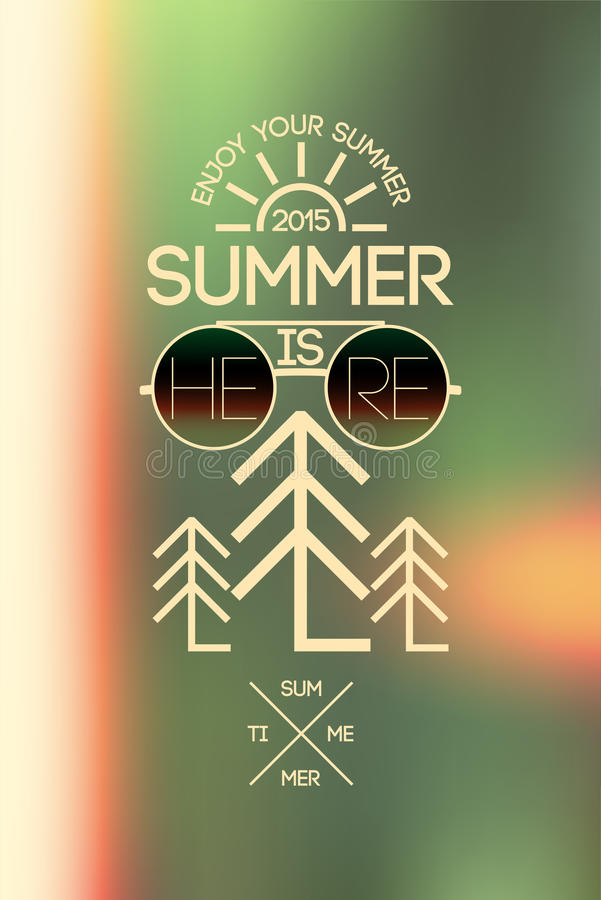 Summer time poster. Vector typographical design with blurry background. Eps 10. stock illustration