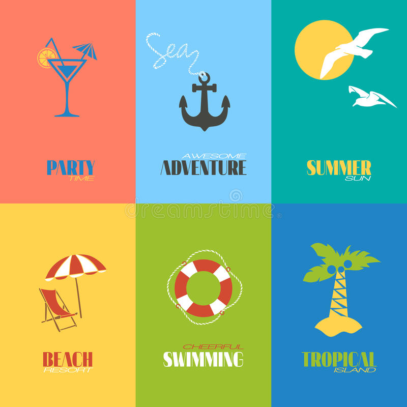 Summer time posters. Summer time awesome adventure tropical island posters set isolated vector illustration royalty free illustration