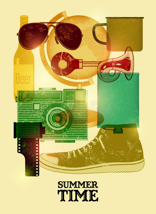 Summer time retro poster. Vector design with vintage things. Eps 10. Summer time retro poster. Vector design with vintage things vector illustration