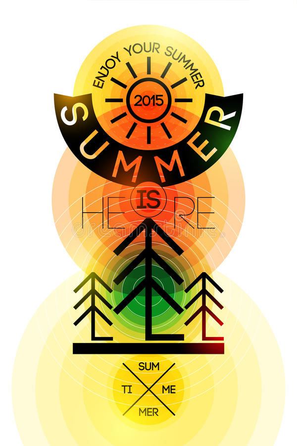Summer time retro poster. Vector typographical design with colorful circle background. Eps 10. Summer time retro poster. Vector typographical design with stock illustration