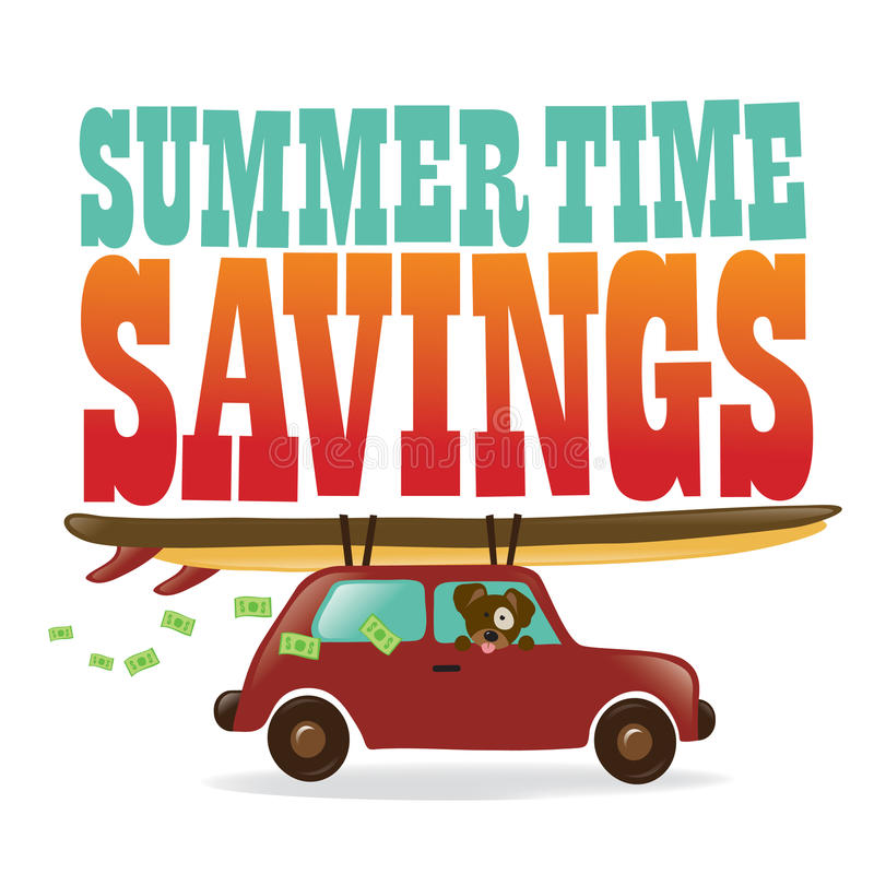 Summer Time Savings. Illustration of a car, surfboards, dog, and flying money