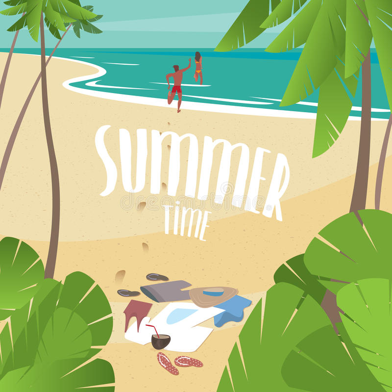 Summer time on the sea. Couple running into the ocean, leaving clothes on the beach - Holiday or vacation concept royalty free illustration