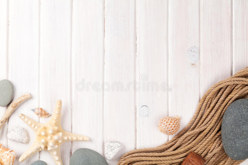 Summer time sea vacation background. With star fish and marine rope royalty free stock photos