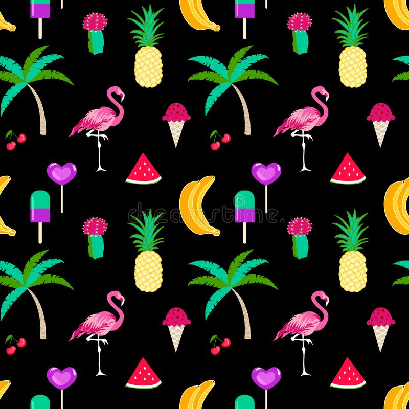 Summer time seamless pattern with tropical elements on a black background stock illustration