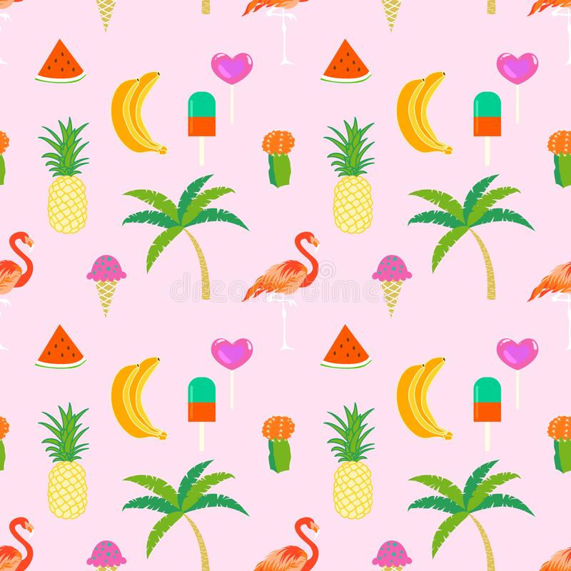 Summer time seamless pattern with tropical elements royalty free illustration