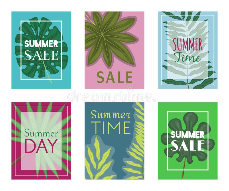 Summer time set of banners, flyers vector illustration. Tropical leaves. amazing palms. Jungle leaves, split leaf. Philodendron plant. Advertisement of summer stock illustration
