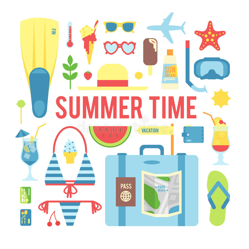The summer time. The set of elements on a white background vector illustration