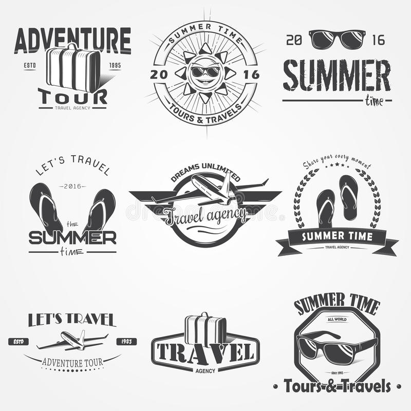 Summer time set. Tourist agency. Travel around the world. Detailed elements. Typographic labels, stickers, logos and royalty free illustration