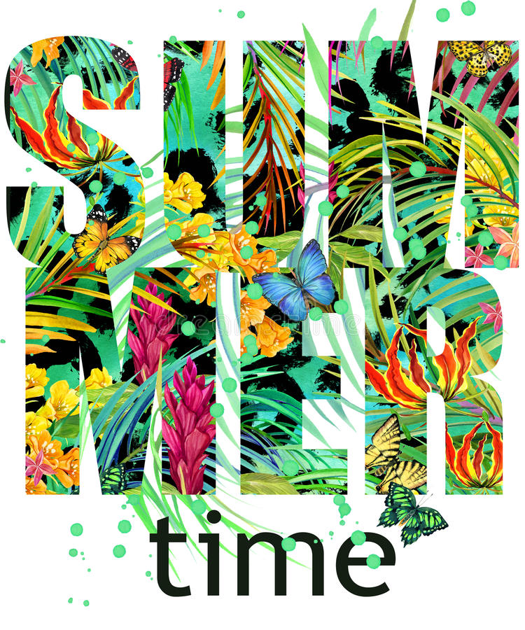 Summer time Tee Shirt design. Tropical plants texture. Summer time text. stock illustration