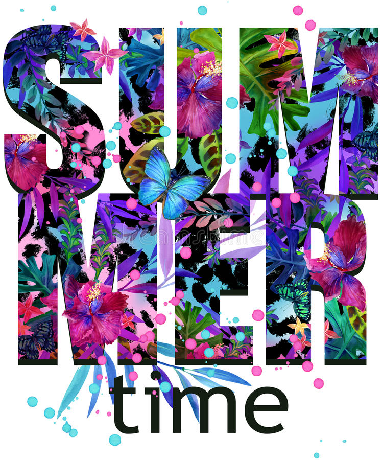 Summer time Tee Shirt design. Tropical plants texture. Summer time text. Tropical leaves, flower, butterfly watercolor background. Watercolor floral background vector illustration