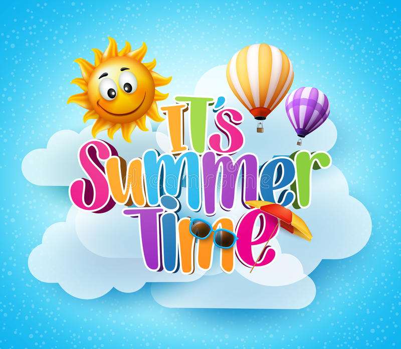 Summer Time Text in the Blue Sky Background stock illustration