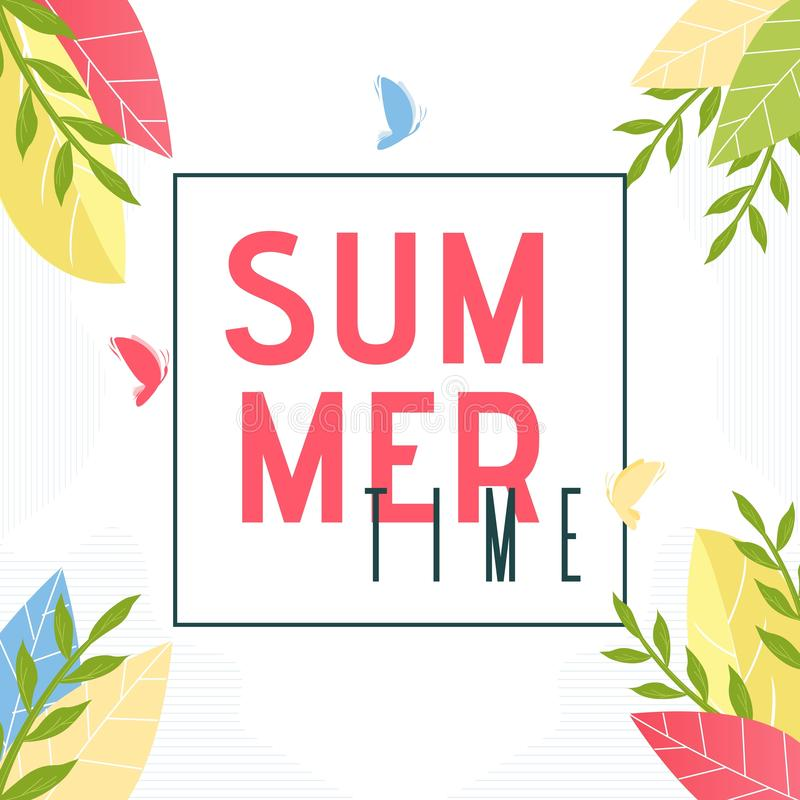 Summer Time Text in Frame and Foliage Decor Banner royalty free illustration