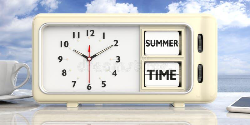 Summer time text on retro alarm clock, blue sky background. 3d illustration. stock illustration