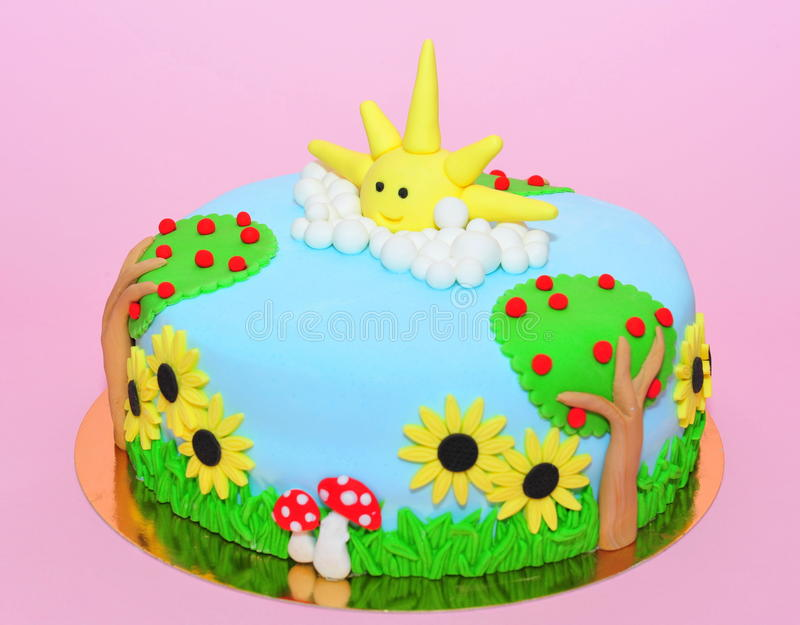 Summer time theme fondant cake. Nature in the summer theme cake stock images