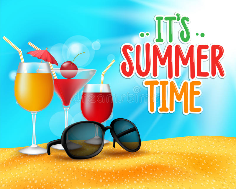 Summer Time Title in Sand and Horizon Background. With Drinks or Cocktail Glasses and Shades for Party in Beach Sea Shore. Editable vector Illustration royalty free illustration