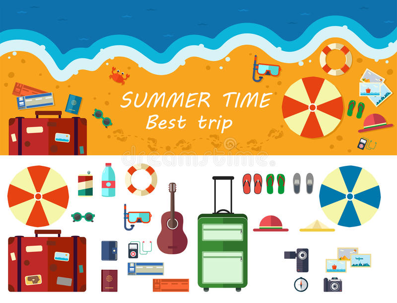 Summer time traveling, beach rest royalty free illustration