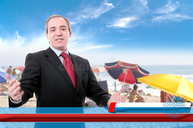 Summer Time. TV screen with male reporter on location covering summertime opening season under a cloudy blue sky - Press concept on Travel and Tourism royalty free stock images