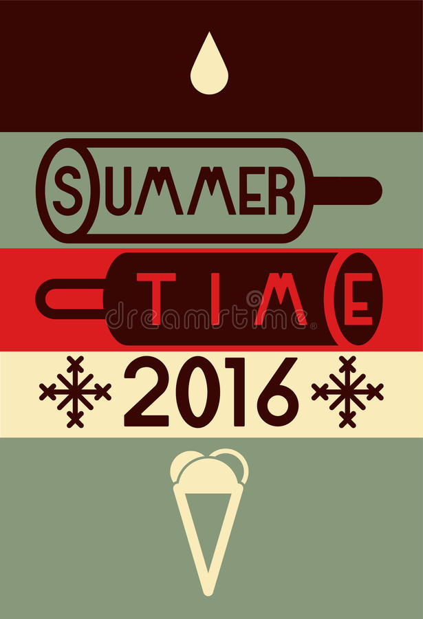Summer time typographical poster. Vector illustration. stock illustration