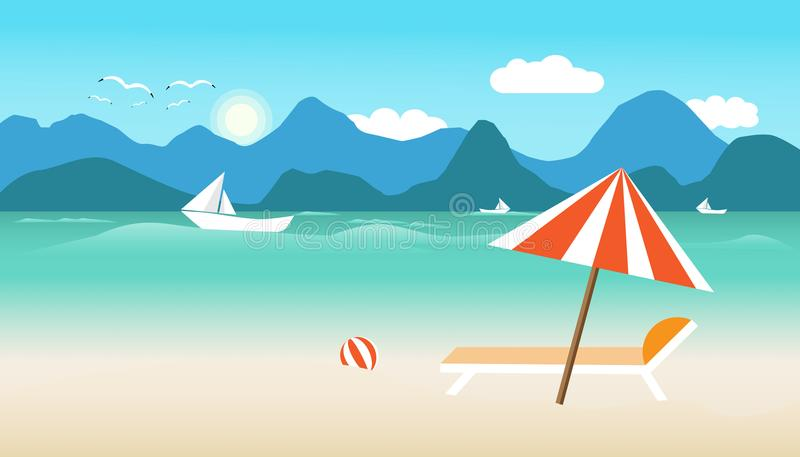 Summer time with umbrella ball chair on beach. boat in sea and sun bird fly bright over blue sky cloud mountain background. concep royalty free illustration