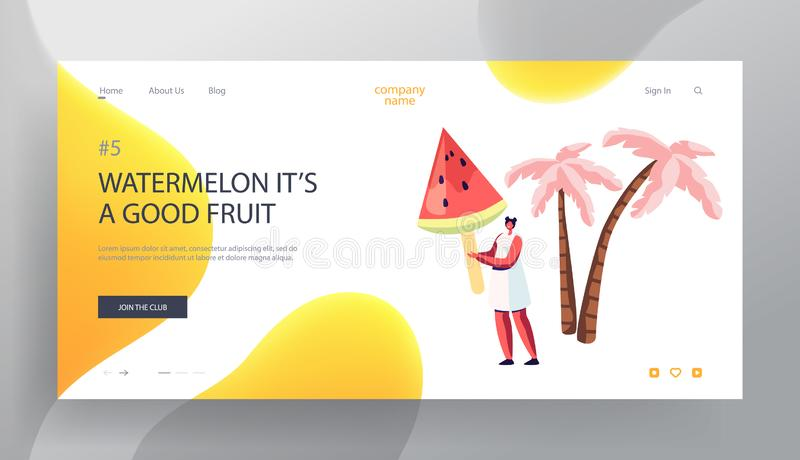Summer Time Vacation, Food Website Landing Page, Young Female Character Hold Huge Watermelon Ice Cream on Stick, Summertime vector illustration